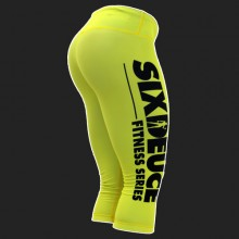 Six Deuce Yellow 3/4 Summer Collection Fitness Leggings